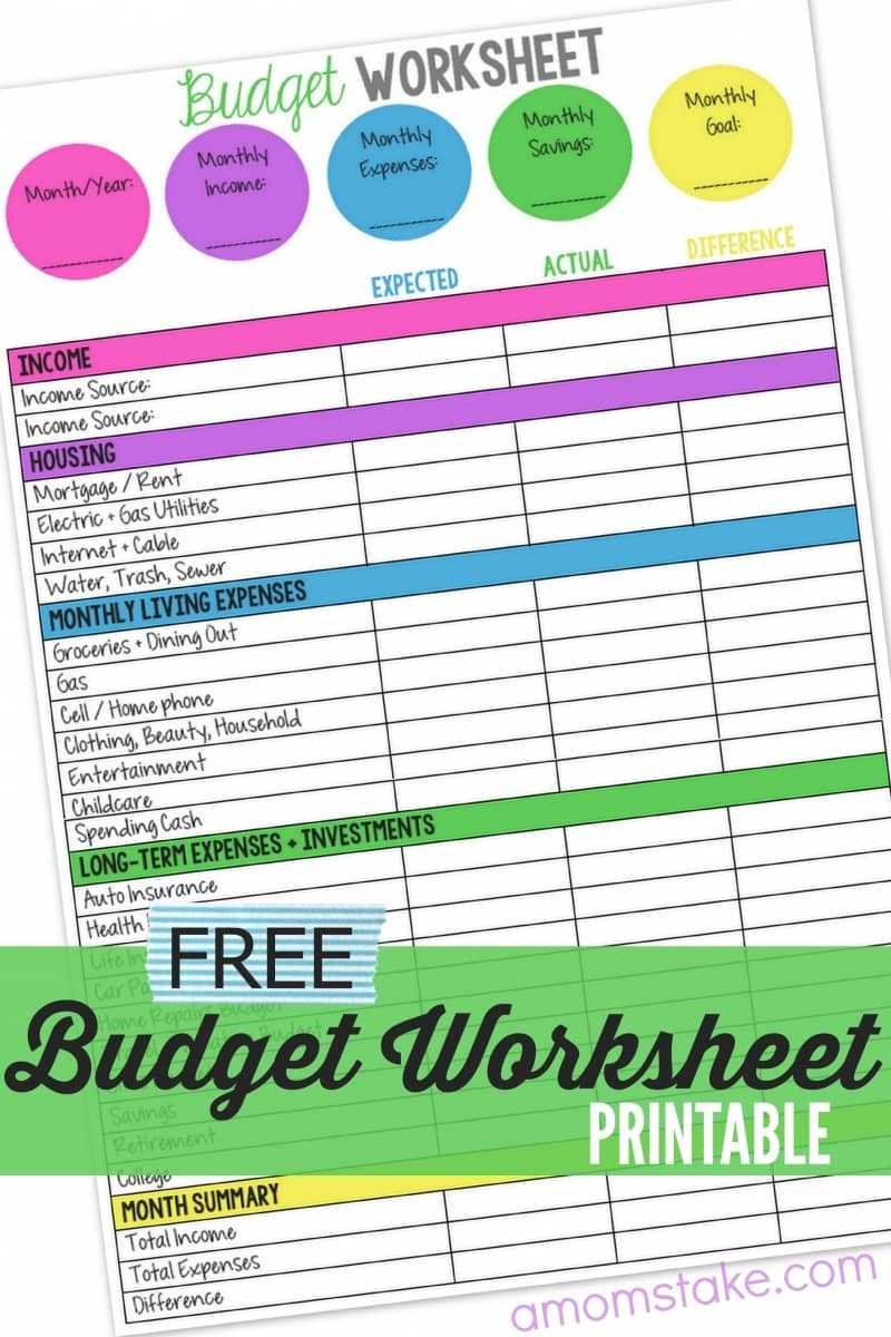Family Budget Worksheet   A Mom's Take To Budget Spreadsheets Free
