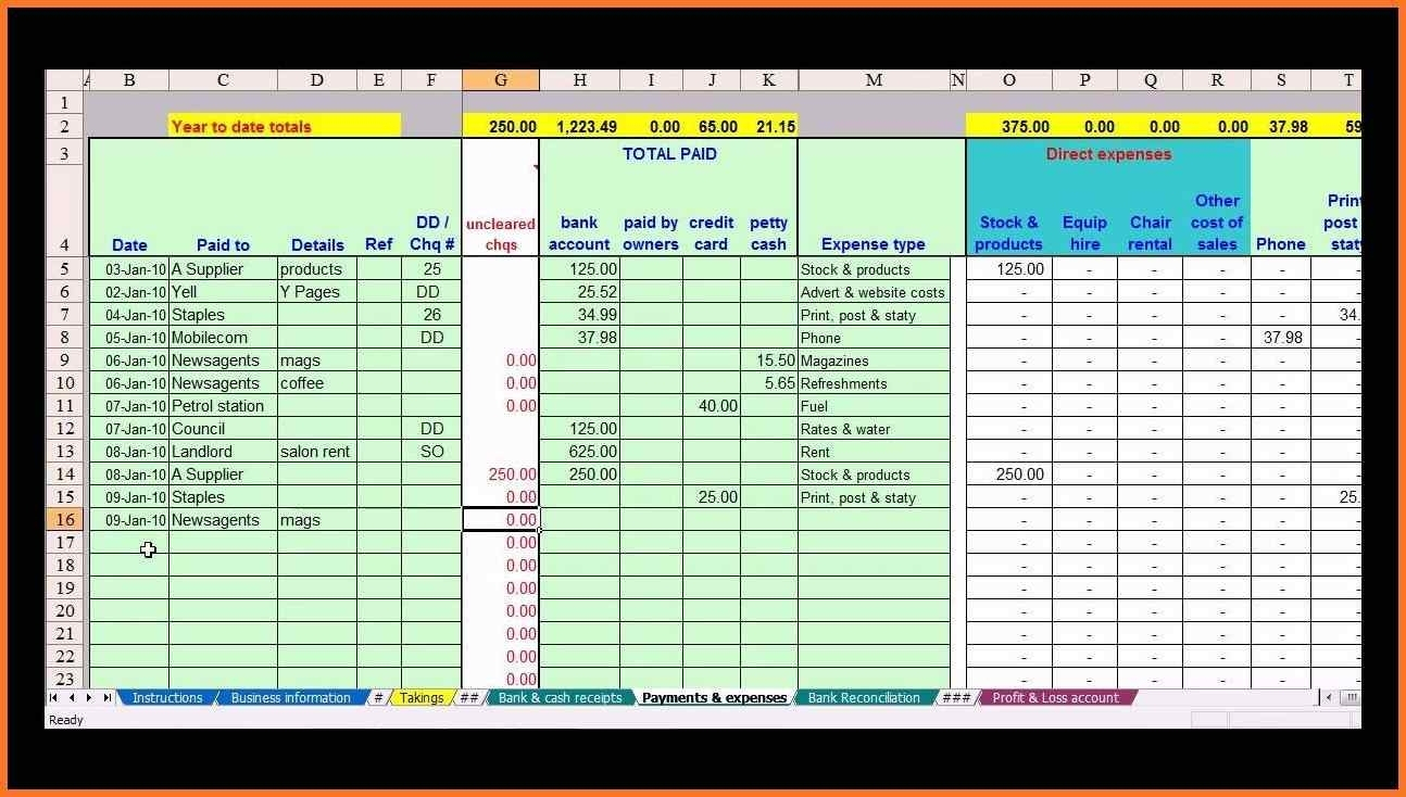 Farm Bookkeeping Spreadsheet   Sow Template In Bookkeeping Within Excel Spreadsheet For Farm Accounting