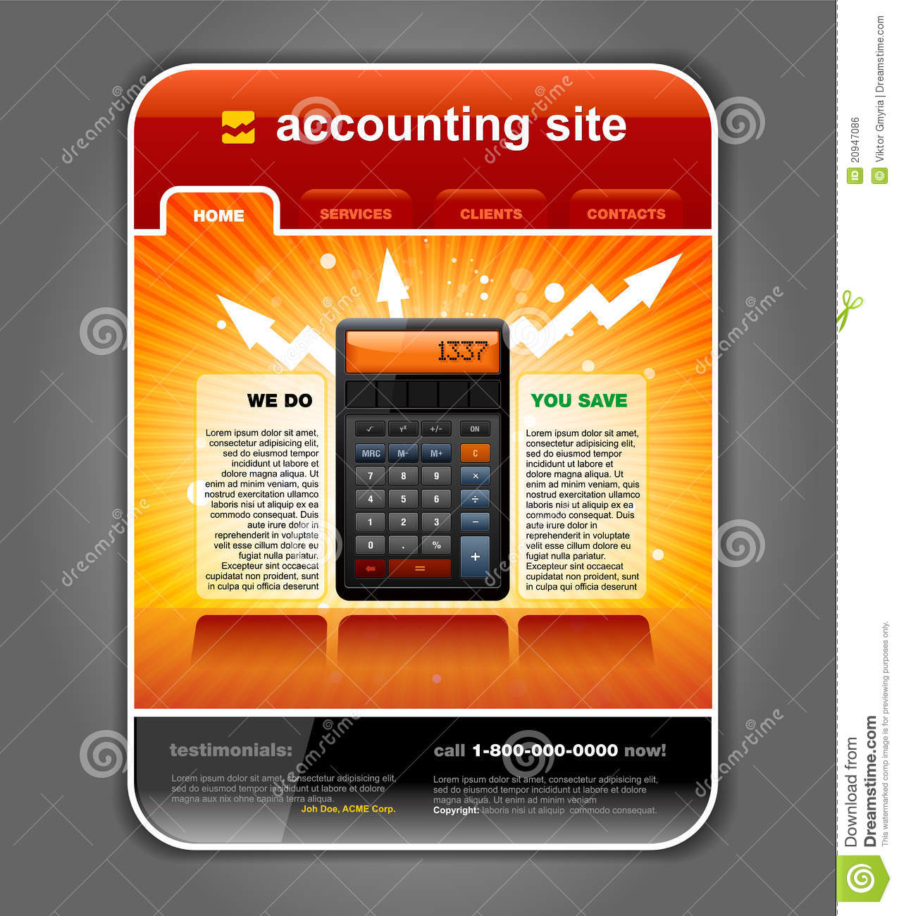 Finance Accounting Web Site Template Vector Stock Vector In Accounting Website Templates Free Download