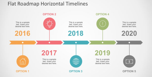 Flat Roadmap Horizontal Timelines For Powerpoint With Project Timeline Template Ppt Free