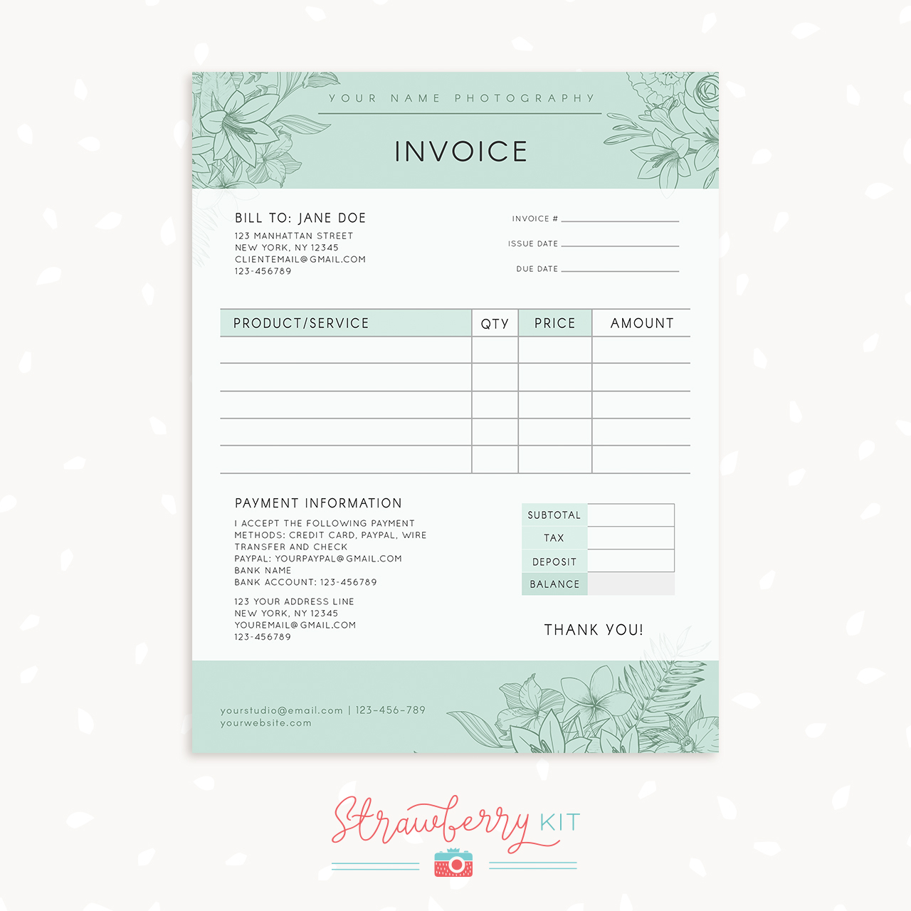 Floral Photography Invoice Template   Strawberry Kit With Photography Invoice Template