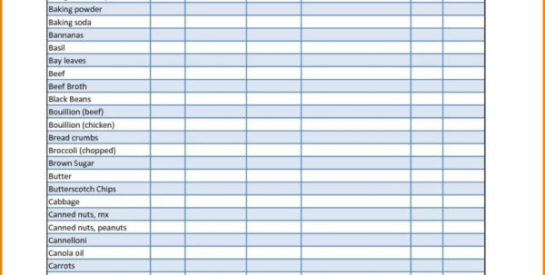 Food Pantry Inventory Spreadsheet   Tagua Spreadsheet Sample Collection And Food Pantry Inventory Spreadsheet
