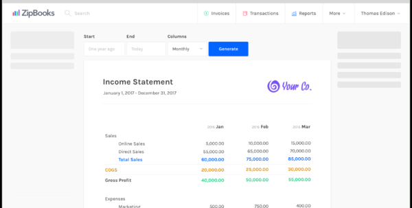 Free Accounting Software & Online Invoicing | Zipbooks Inside Online Business Expense Tracker Online Business Expense Tracker Expense Spreadsheet