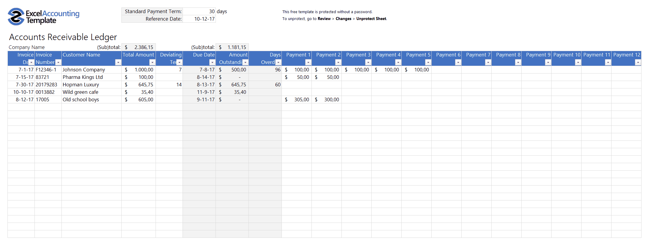 Free Accounting Templates In Excel   Download For Your Business In Free Accounts Payable Templates