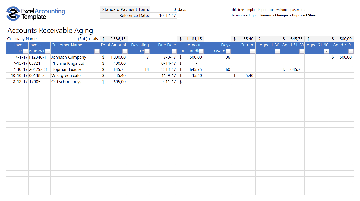Free Accounting Templates In Excel   Download For Your Business With Basic Accounting Excel Formulas