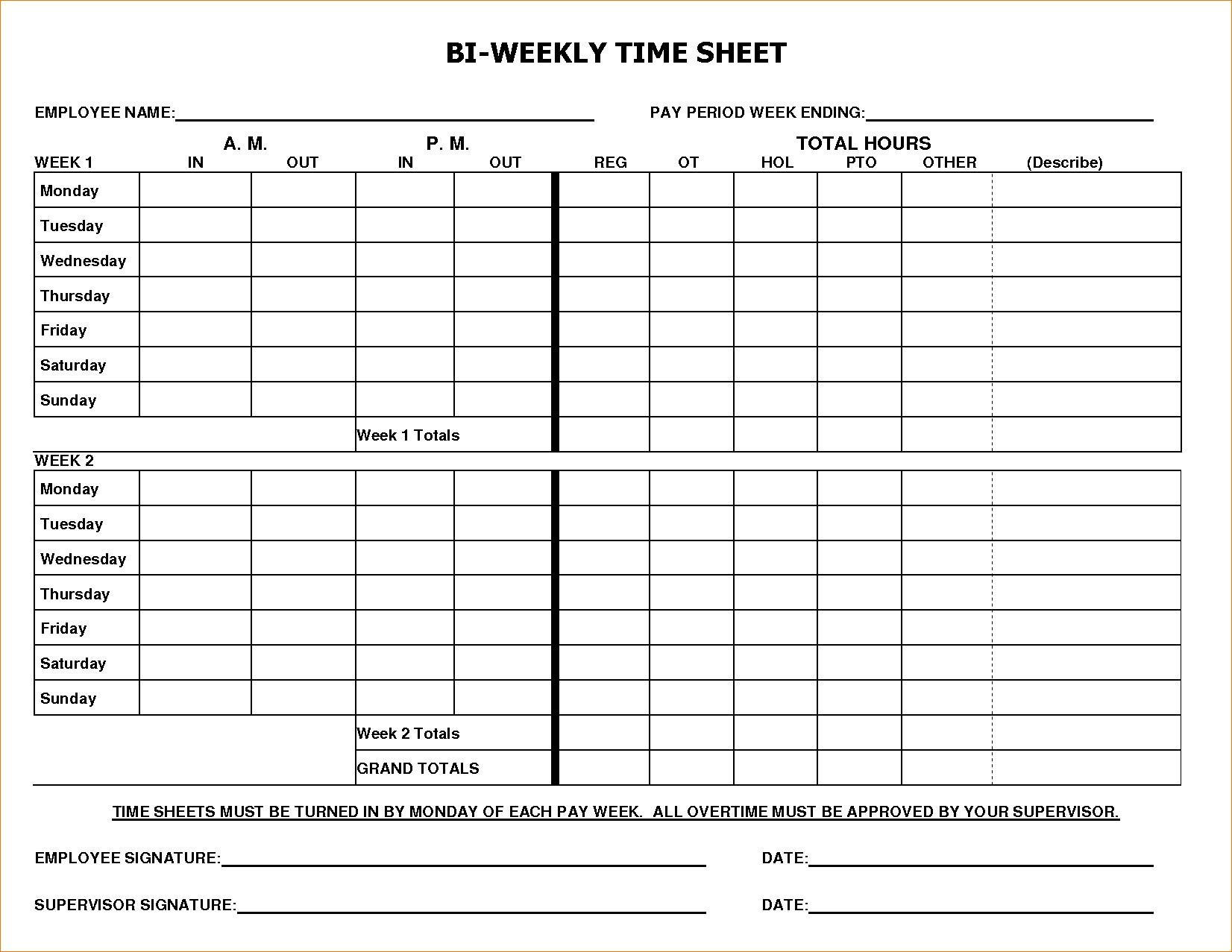 Free Bi Weekly Employee Timesheet Template Sample #1770 within Employee Timesheet Template