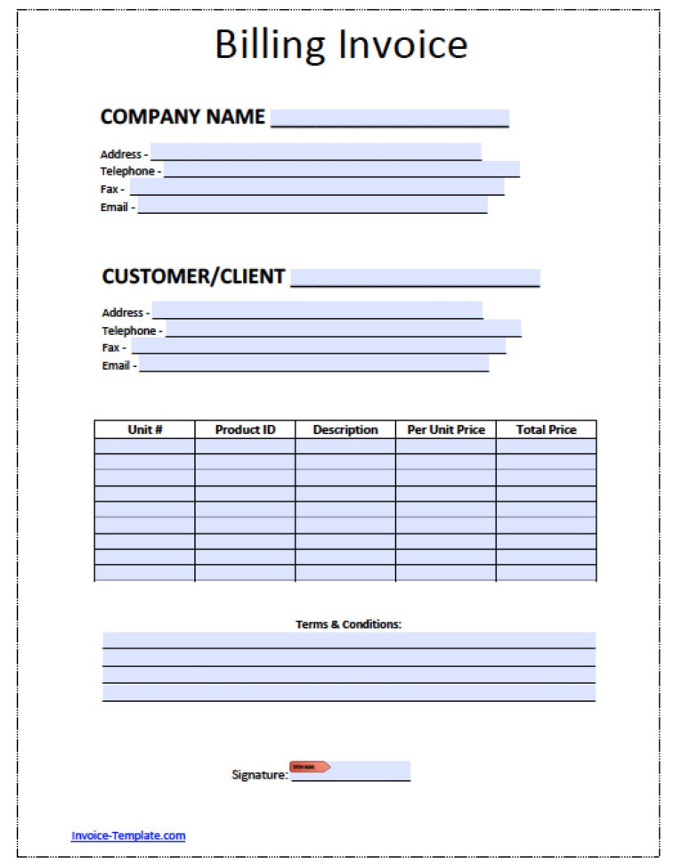 Free Billing Invoice Template | Excel | Pdf | Word (.doc) Inside Billing Spreadsheet Template