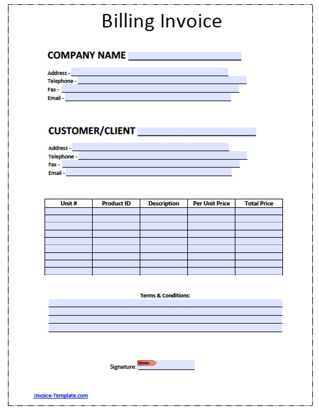 Free Billing Invoice Template | Excel | Pdf | Word (.doc) Within Billing Invoice Sample