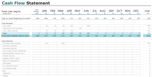 Free Cash Flow Statement Templates For Excel | Invoiceberry For Simple Accounting Template Excel