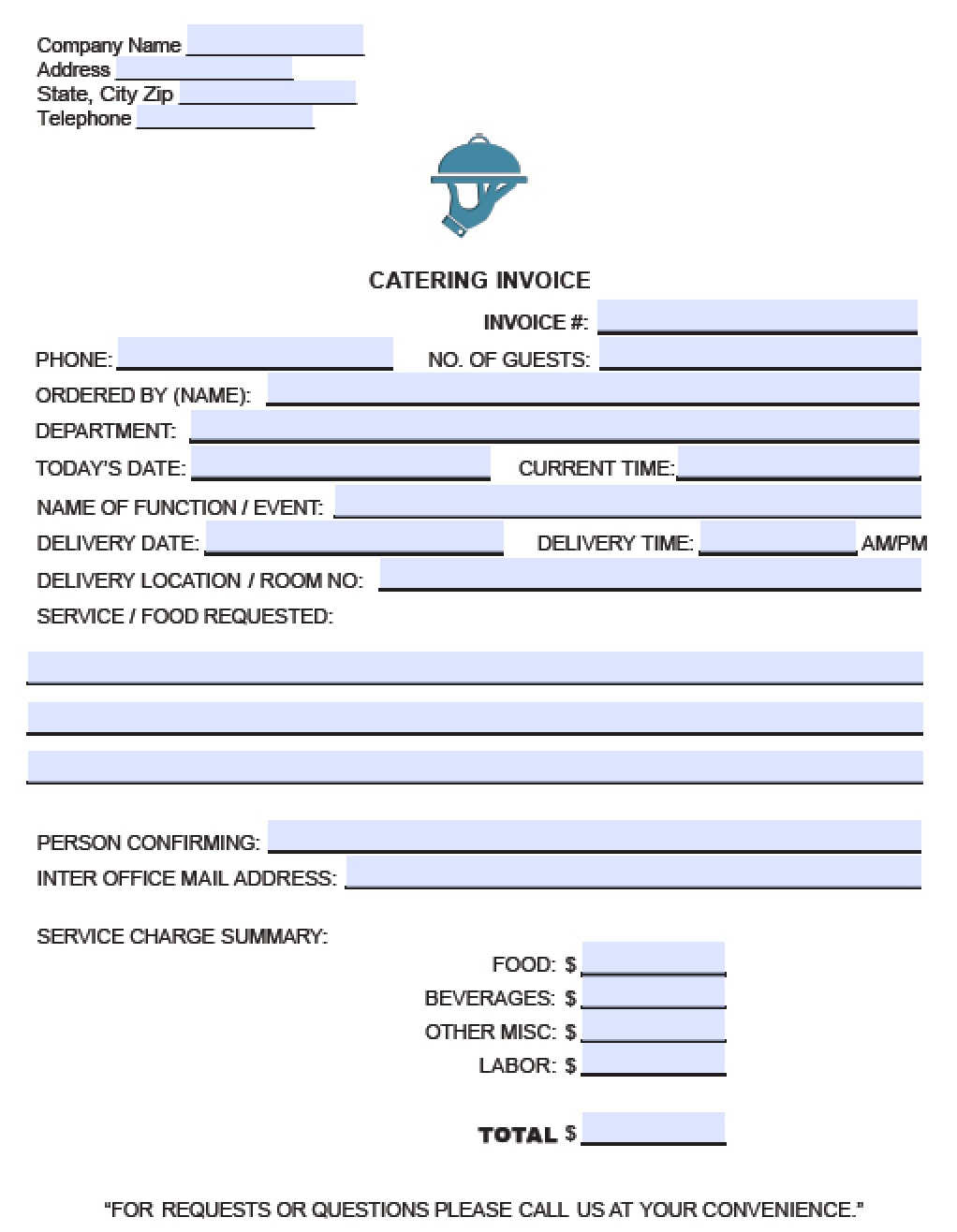 Free Catering Service Invoice Template | Excel | Pdf | Word (.doc) To Catering Service Invoice