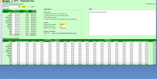 Free Comprehensive Budget Planner Spreadsheet Excel Throughout Financial Planning Excel Sheet