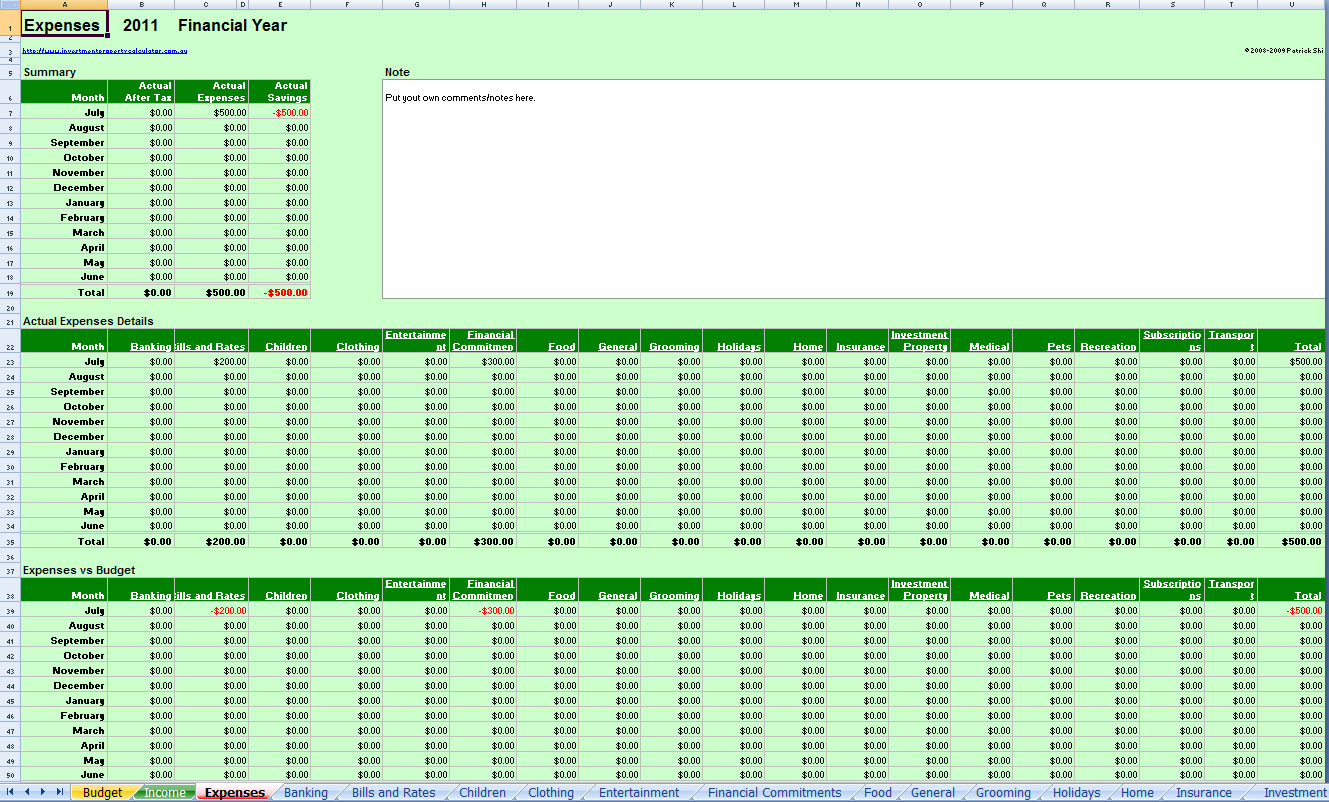 Free Comprehensive Budget Planner Spreadsheet Excel With Budget Spreadsheets Free