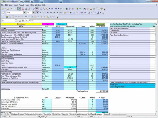 Free Construction Estimating Spreadsheet Template | Worksheet With House Building Cost Spreadsheet