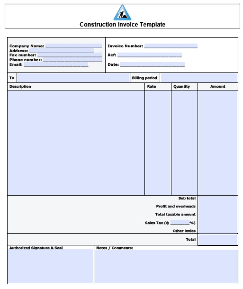Free Construction Invoice Template | Excel | Pdf | Word (.doc) In Invoice Excel Template