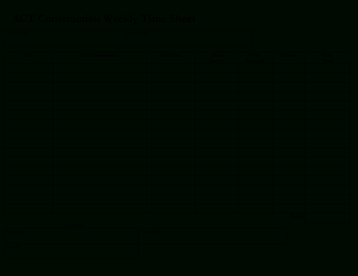 Free Construction Weekly Time Sheet   Templates At Within Payroll Weekly Timesheet Template