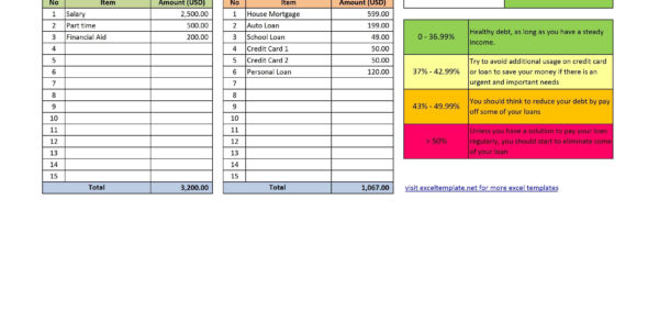 Free Debt To Income Ratio Calculator Template Throughout Debt To Debt Elimination Spreadsheet