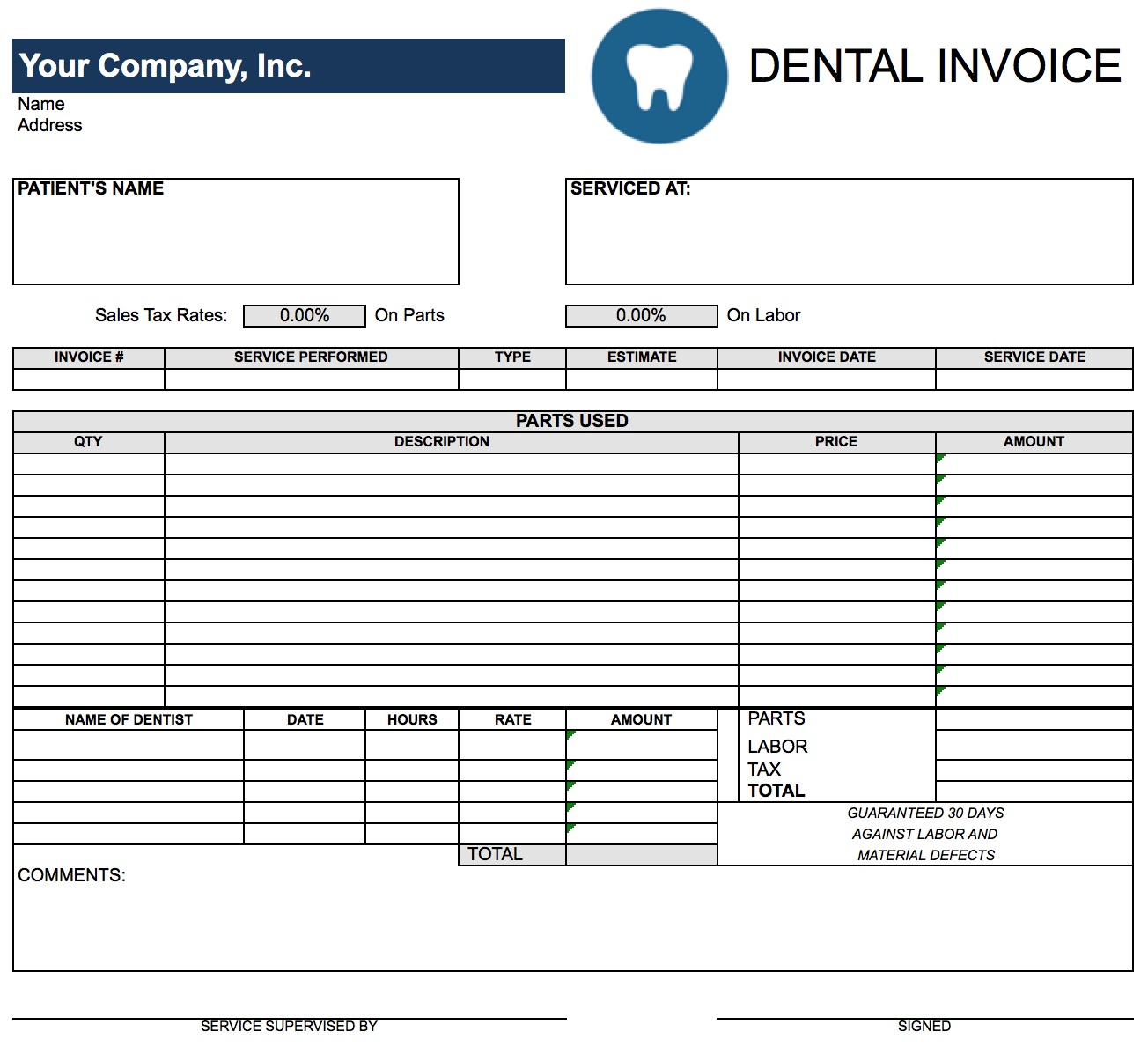 Free Dental Invoice Template | Excel | Pdf | Word (.doc) Inside Invoice Template Excel Free Download