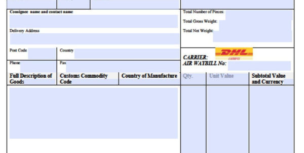Free Dhl Commercial Invoice Template | Excel | Pdf | Word (.doc) Throughout Shipping Invoice Template