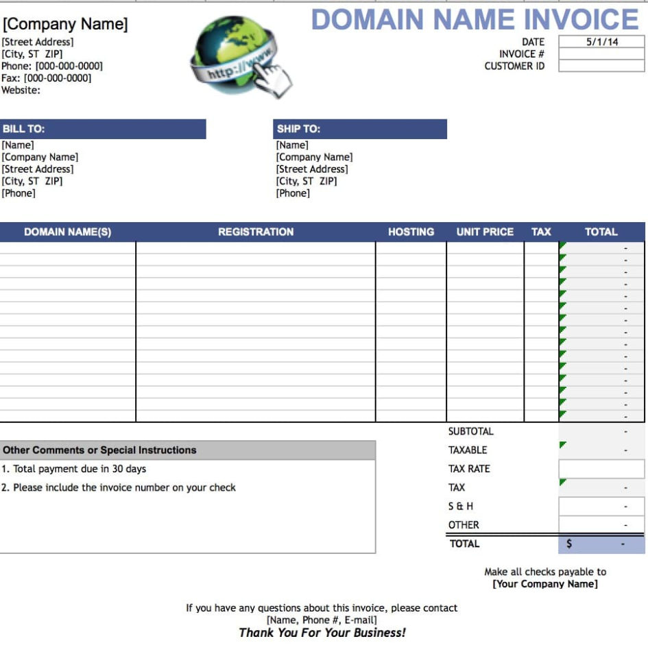 Free Domain Name Invoice Template | Excel | Pdf | Word (.doc) Throughout Invoice Template Excel Free Download