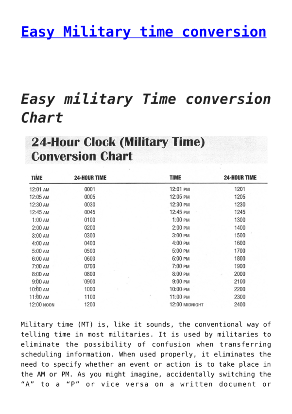 Free Easy Military Time Conversion Chart | Templates At For Time Clock Conversion Sheet