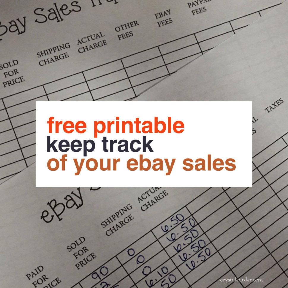 Free Ebay Sales Tracker Printable   Crystal Carder In Free Ebay Sales Tracking Spreadsheet