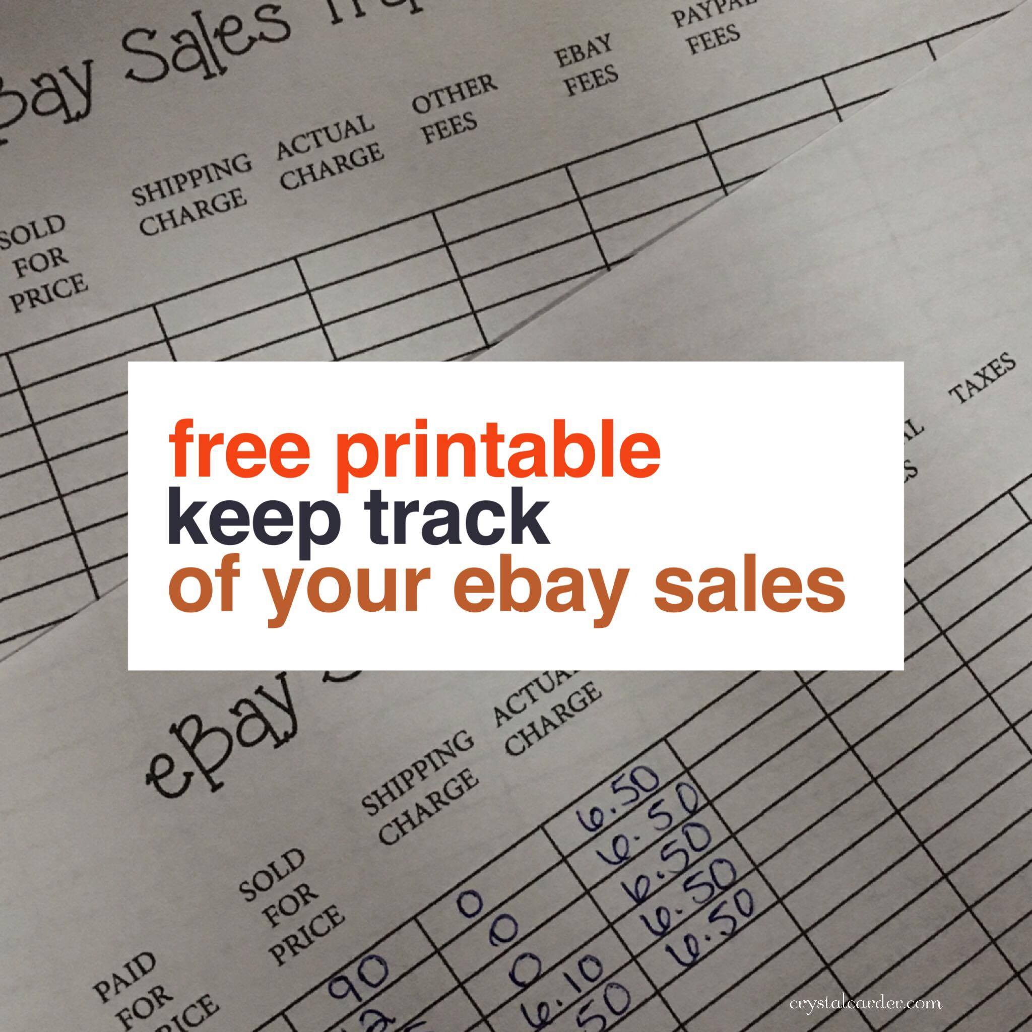 Free Ebay Sales Tracker Printable   Crystal Carder To Ebay Sales Tracking Spreadsheet