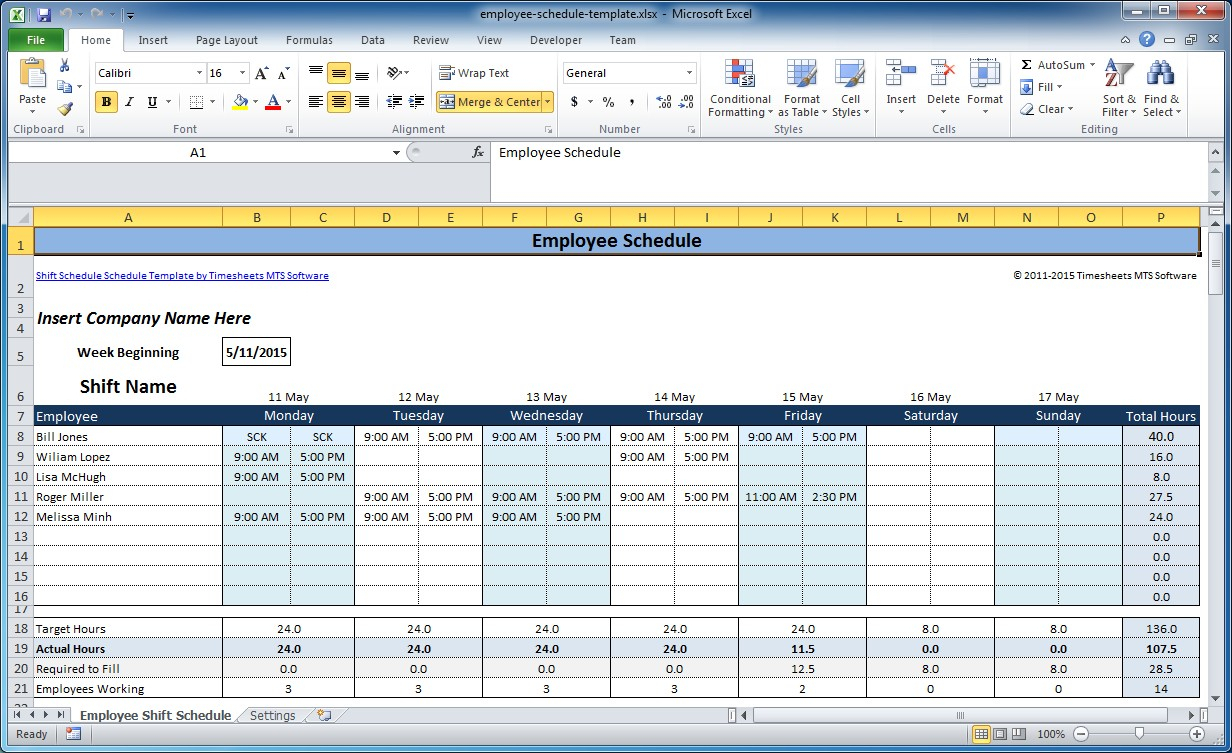 Free Employee And Shift Schedule Templates With Excel Spreadsheet For Scheduling Employee Shifts