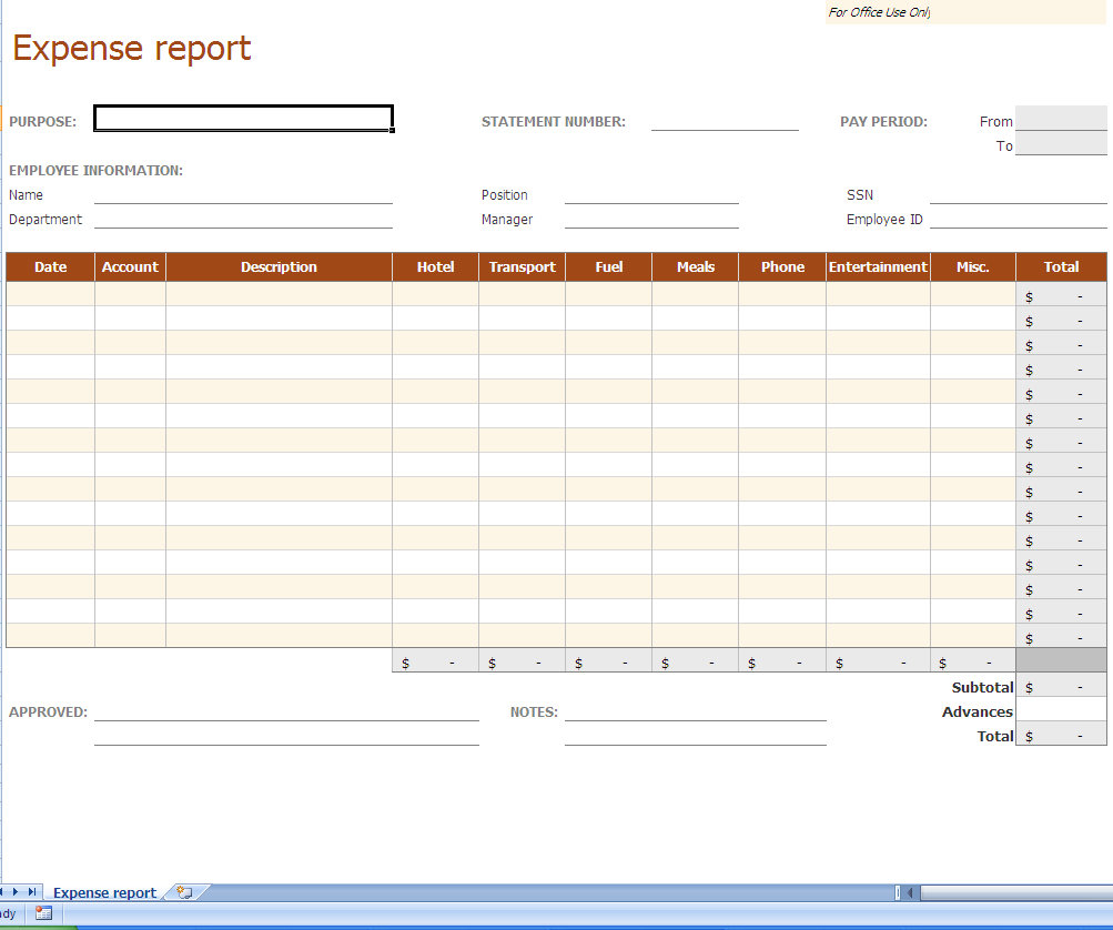Free Excel Expense Report Template   Durun.ugrasgrup To Business Expenses Report Template Excel