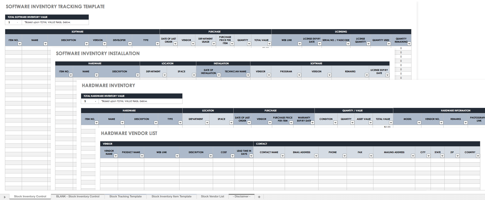 Free Excel Inventory Templates With Software Inventory Spreadsheet