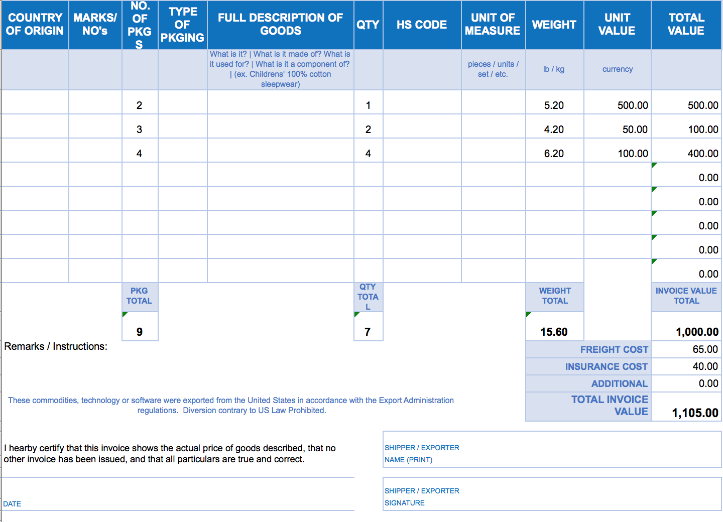 Free Excel Invoice Templates   Smartsheet Within Billing Spreadsheet Template