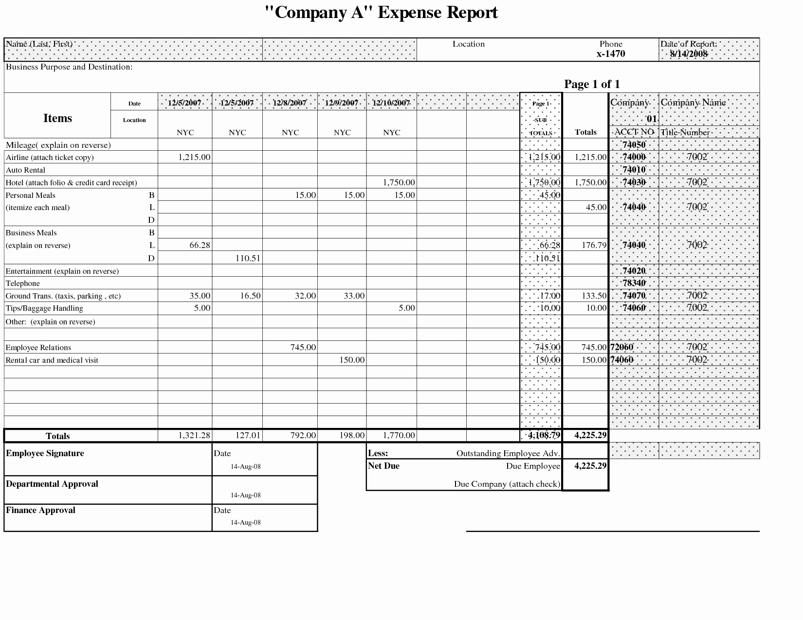 Free Expense Report Template For Small Business Luxury Business In E In Free Expense Spreadsheet