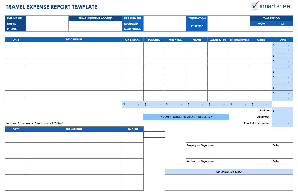 Free Expense Report Templates Smartsheet Intended For Monthly Expense Spreadsheet