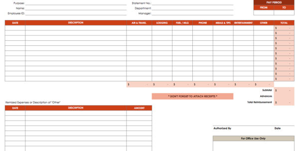 Free Expense Report Templates Smartsheet With Spreadsheet For Tax Expenses