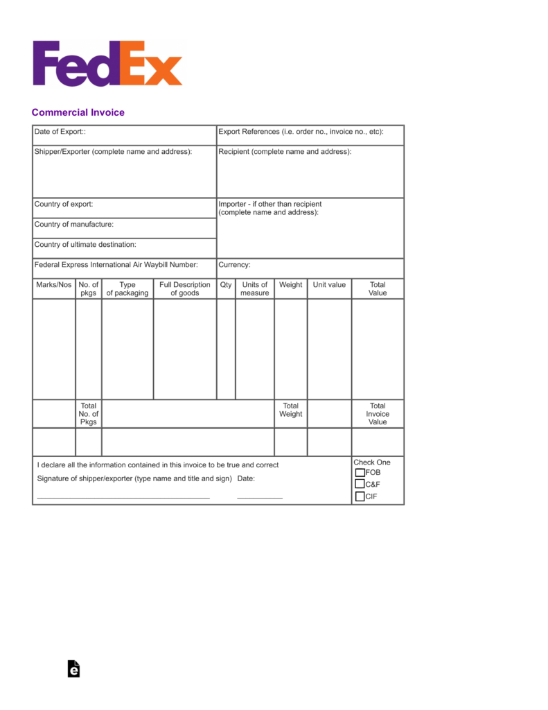 Free Fedex Commercial Invoice Template   Pdf | Eforms – Free Within Fedex Invoice
