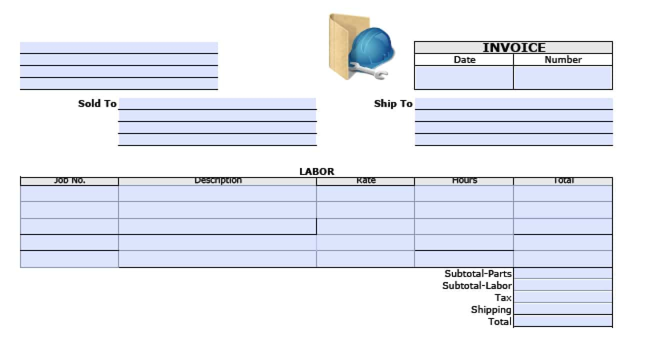 Free General Labor Invoice Template | Excel | Pdf | Word (.doc) Intended For General Labor Invoice