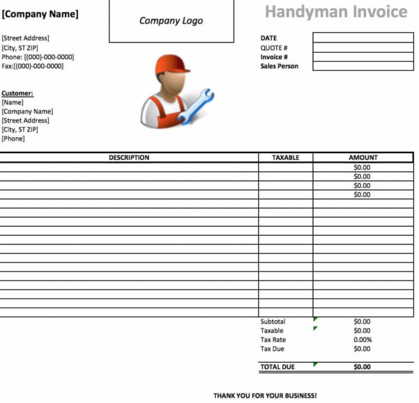 Free Handyman Invoice Template | Excel | Pdf | Word (.doc) For Handyman Invoice