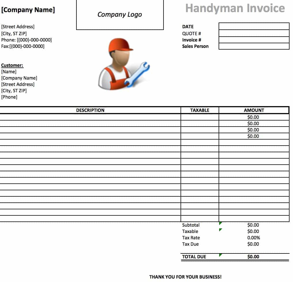 Free Handyman Invoice Template | Excel | Pdf | Word (.doc) To General Labor Invoice