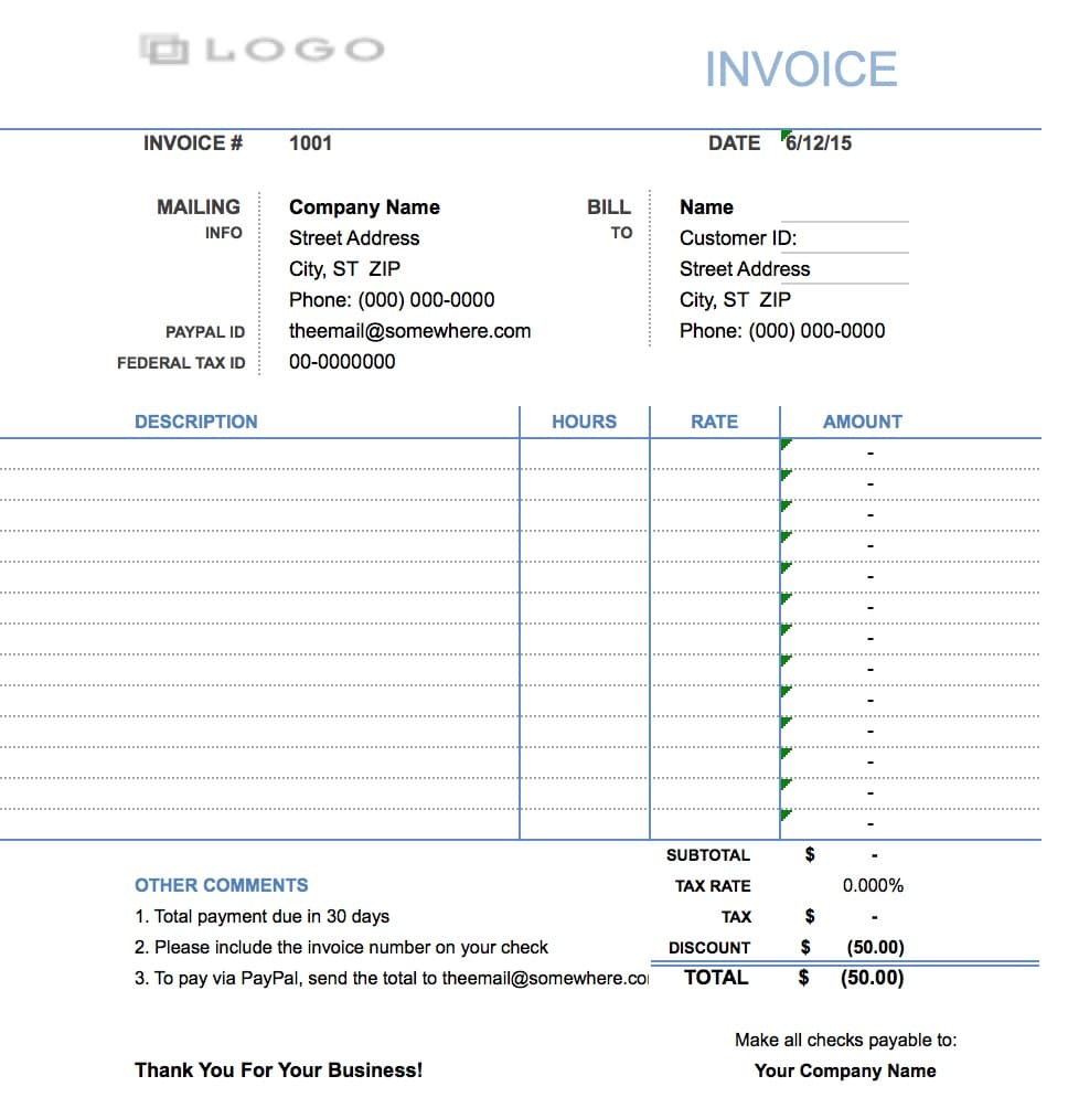 Free Hourly Invoice Template | Excel | Pdf | Word (.doc) Throughout Hourly Invoice Template
