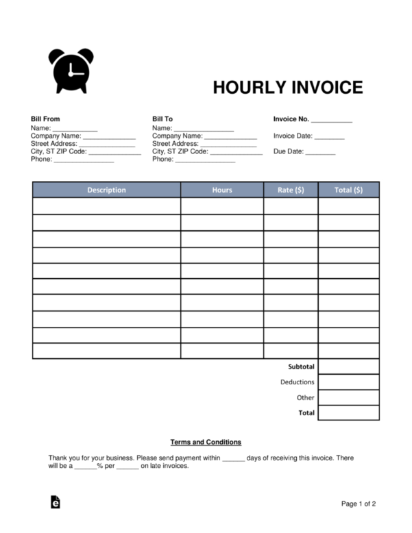 Free Hourly Invoice Template   Word | Pdf | Eforms – Free Fillable Forms And Hourly Invoice Template