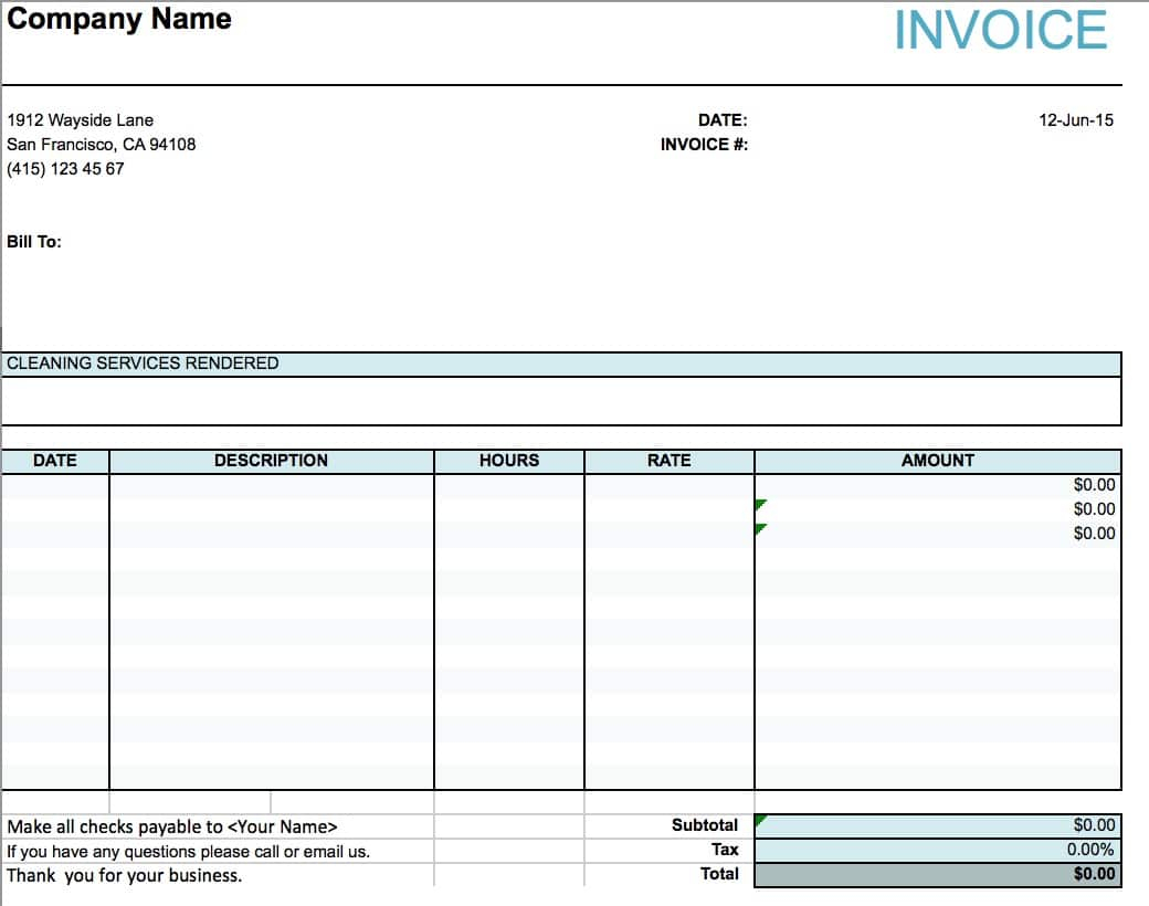Free House Cleaning Service Invoice Template | Excel | Pdf | Word (.doc) With House Cleaning Service Invoice