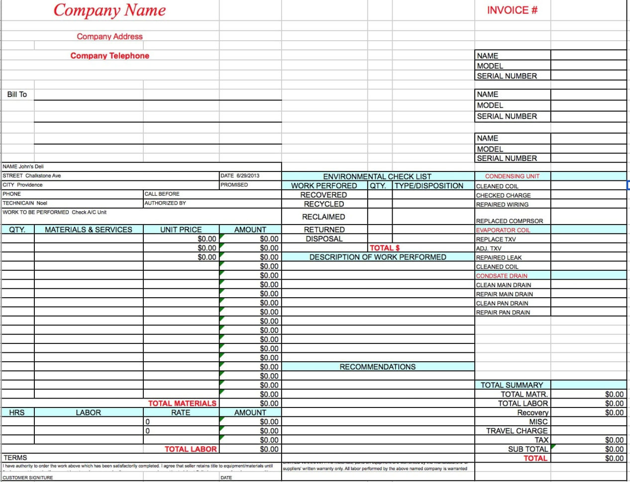 Free Hvac Invoice Template | Excel | Pdf | Word (.doc) With Hvac Invoice Template