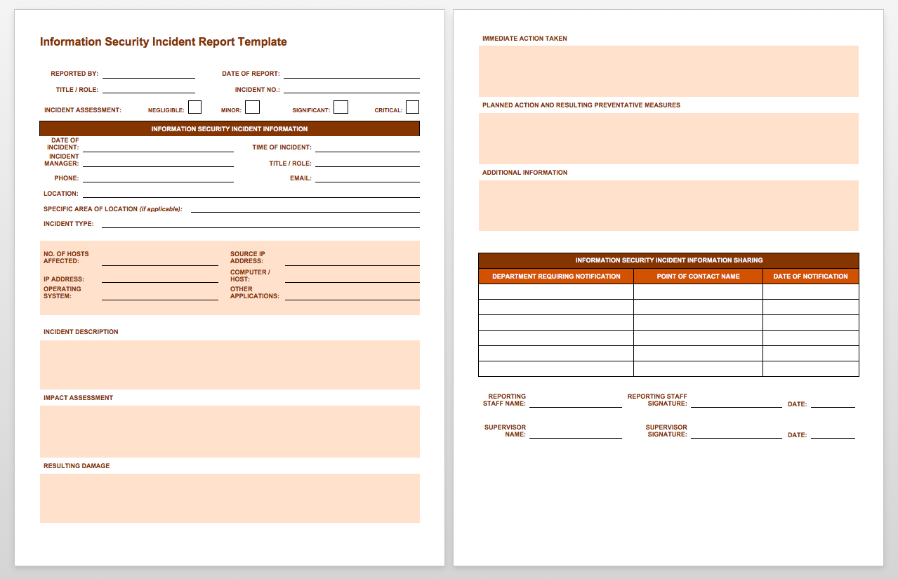 Free Incident Report Templates Smartsheet With Incident Tracking Spreadsheet