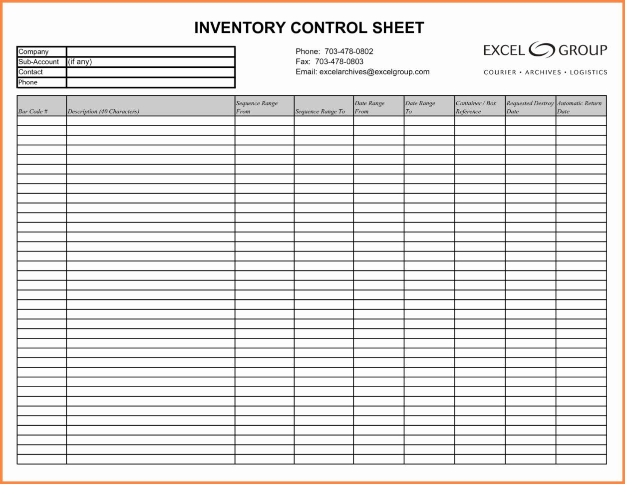 Free Inventory Sheets To Print   Durun.ugrasgrup For Free Inventory Control Spreadsheet