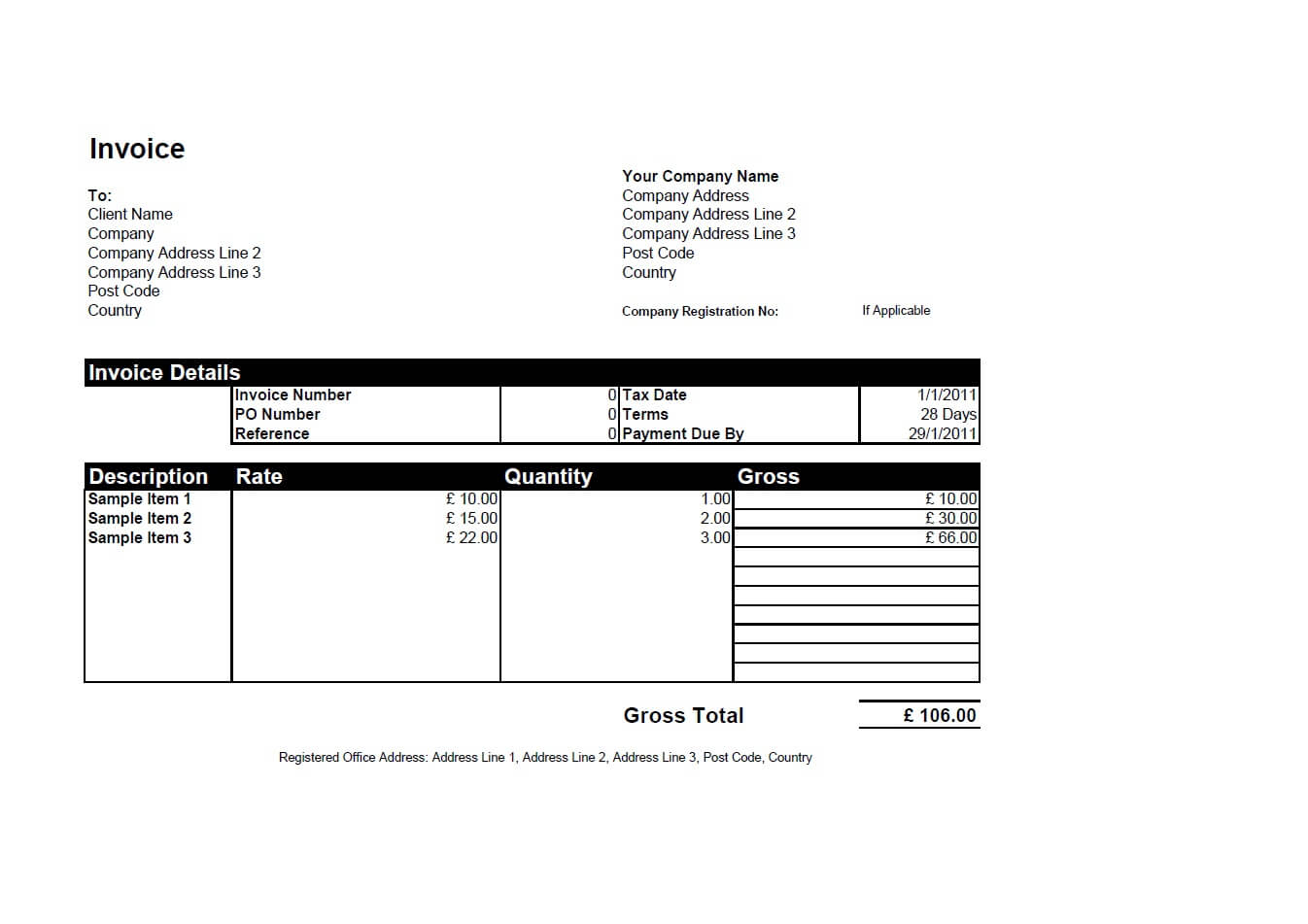 Free Invoice Templates For Word, Excel, Open Office | Invoiceberry Inside Invoice Template Excel Free Download