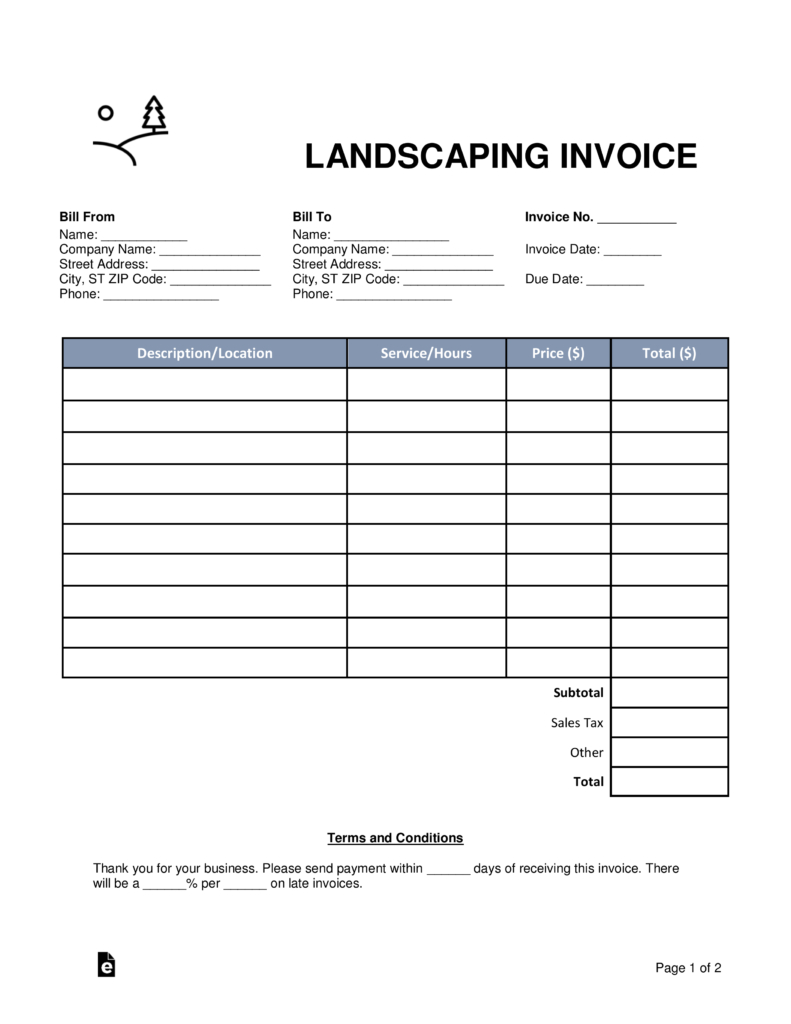 Free Landscaping Invoice Template   Word | Pdf | Eforms – Free Within Landscaping Invoice Template