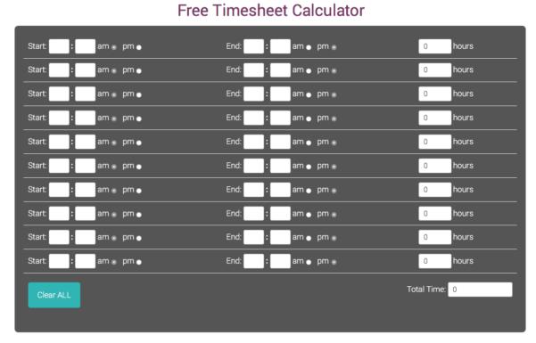 Free Manual Timesheet Calculatortimesheets And Timesheet Clock Calculator