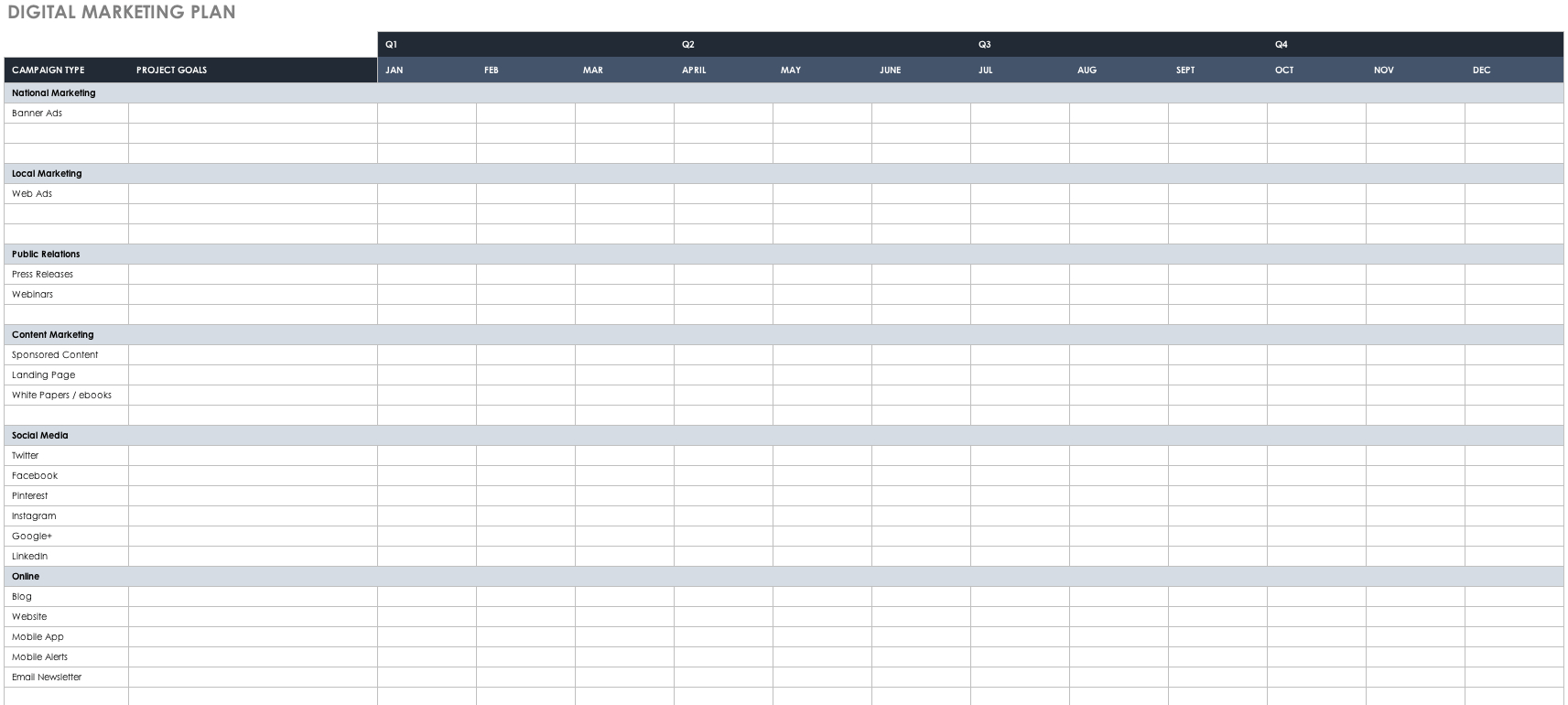 Free Marketing Plan Templates For Excel | Smartsheet Intended For Marketing Campaign Tracking Spreadsheet