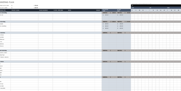 Free Marketing Plan Templates For Excel | Smartsheet Within Marketing Tracking Spreadsheet