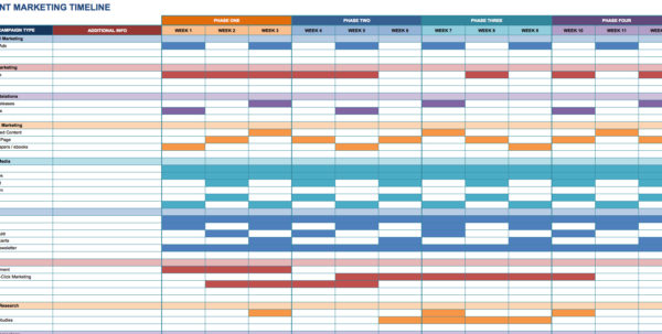 Free Marketing Timeline Tips And Templates   Smartsheet With Project Timeline Schedule