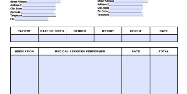 Free Medical Invoice Template | Excel | Pdf | Word (.doc) Within Medical Invoice Template